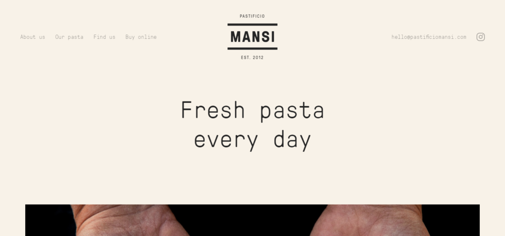 Mansi, fresh pasta producer in Londonサイトスクリーンショット